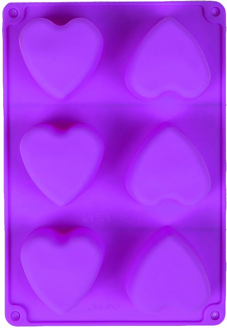 Форма для выпечки Доляна Сердце, цвет: фиолетовый, 6 ячеек, 26,5 х 18 х 3,2 см2570329_фиолетовыйОт качества посуды зависит не только вкус еды, но и здоровье человека. Форма для выпечки 26,5х18х3,2 см Сердце, 6 ячеек, цвета — товар, соответствующий российским стандартам качества. Любой хозяйке будет приятно держать его в руках. С нашей посудой и кухонной утварью приготовление еды и сервировка стола превратятся в настоящий праздник.