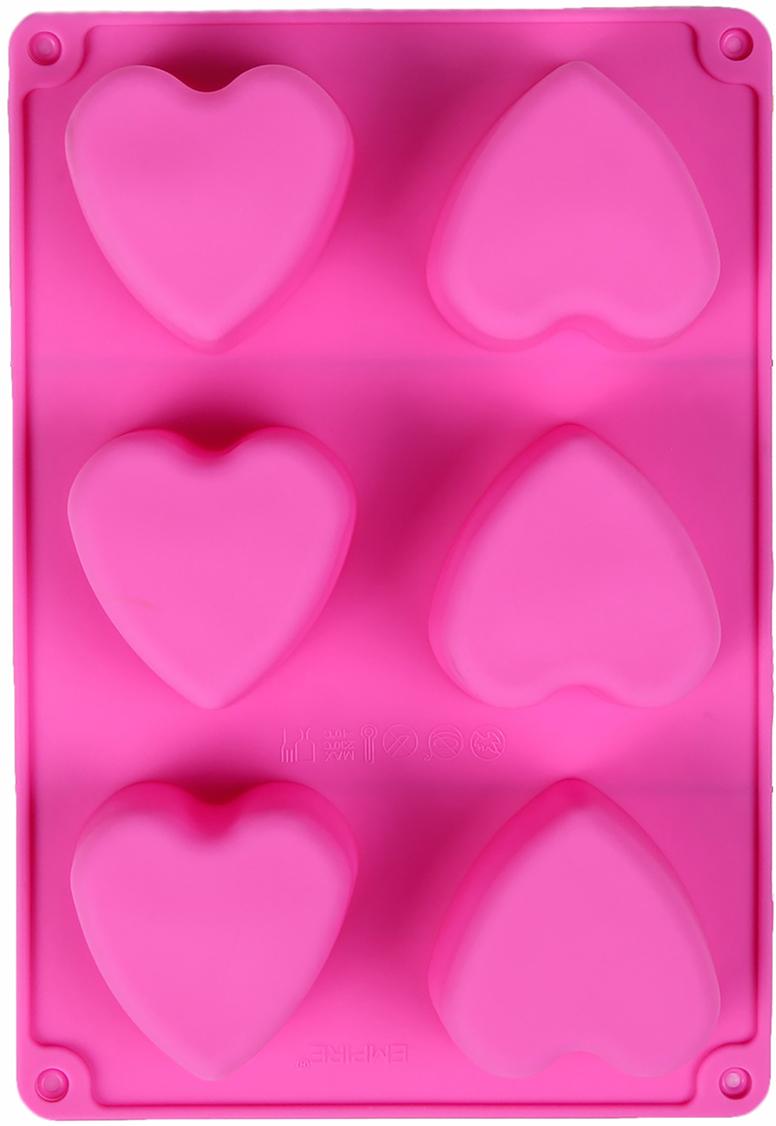 Форма для выпечки Доляна Сердце, цвет: розовый, 6 ячеек, 26,5 х 18 х 3,2 см2570329_розовыйОт качества посуды зависит не только вкус еды, но и здоровье человека. Форма для выпечки 26,5х18х3,2 см Сердце, 6 ячеек, цвета — товар, соответствующий российским стандартам качества. Любой хозяйке будет приятно держать его в руках. С нашей посудой и кухонной утварью приготовление еды и сервировка стола превратятся в настоящий праздник.