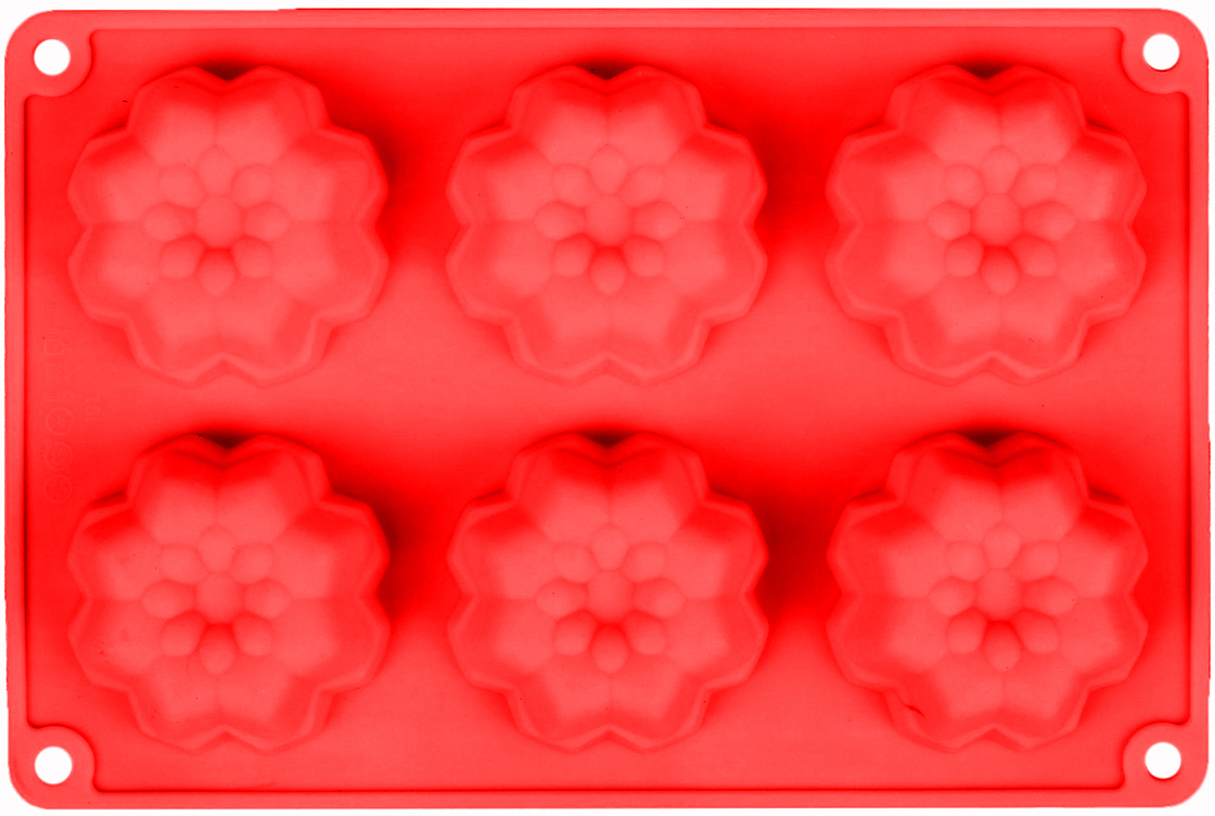 Форма для выпечки Доляна Немецкий кекс. Георгина, цвет: красный, 6 ячеек, 26 х 17,5 х 3 см2581340_красныйОт качества посуды зависит не только вкус еды, но и здоровье человека. — товар, соответствующий российским стандартам качества. Любой хозяйке будет приятно держать его в руках. С нашей посудой и кухонной утварью приготовление еды и сервировка стола превратятся в настоящий праздник.