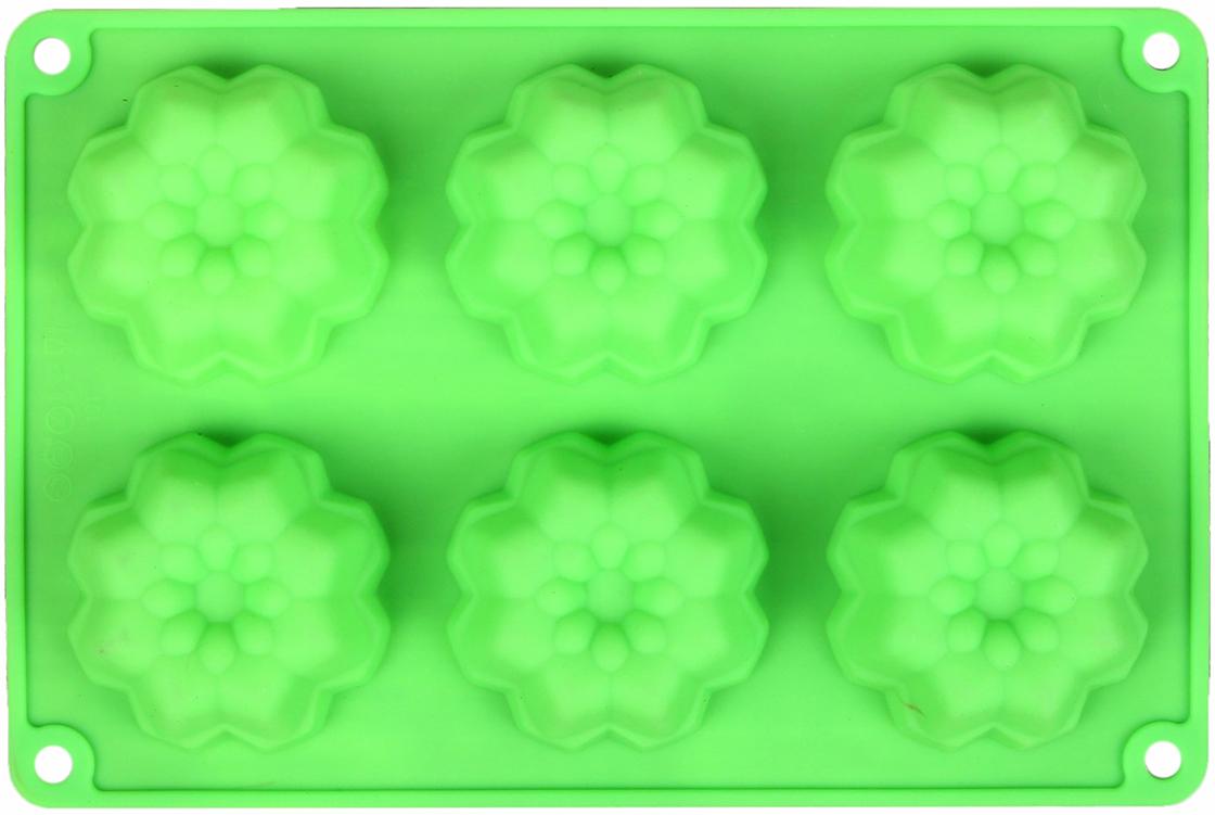 Форма для выпечки Доляна Немецкий кекс. Георгина, цвет: зеленый, 6 ячеек, 26 х 17,5 х 3 см2581340_зеленыйОт качества посуды зависит не только вкус еды, но и здоровье человека. — товар, соответствующий российским стандартам качества. Любой хозяйке будет приятно держать его в руках. С нашей посудой и кухонной утварью приготовление еды и сервировка стола превратятся в настоящий праздник.