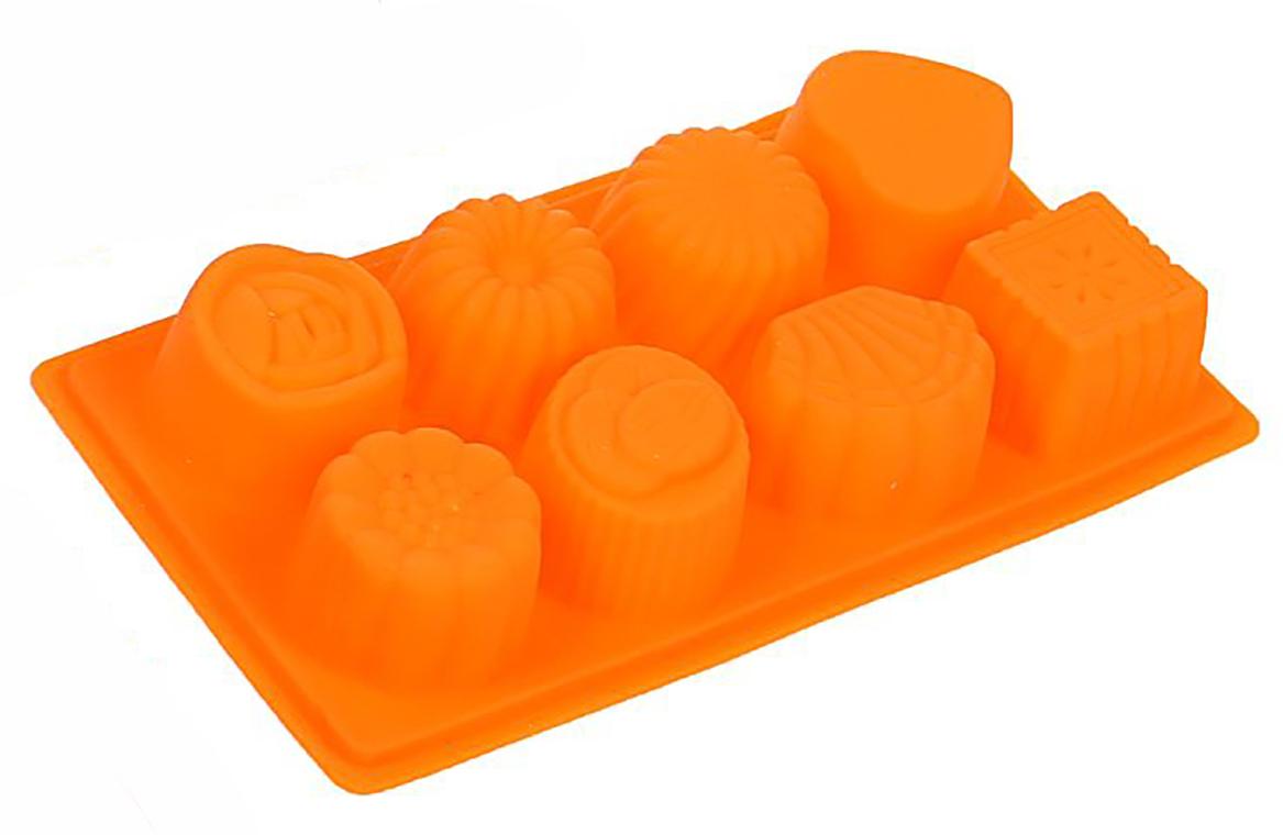 Форма для выпечки Доляна Конфеты, цвет: оранжевый, 8 ячеек, 22,5 х 12 х 4 см1403924_оранжевыйФорма для выпечки из силикона — современное решение для практичных и радушных хозяек. Оригинальный предмет позволяет готовить вкуснейшую выпечку — кексы, запеканки и печенье. Почему это изделие должно быть на кухне? блюдо сохраняет нужную форму и легко отделяется от стенок после приготовления; высокая термостойкость (от –40 до 230 ?) позволяет применять форму в духовых шкафах и морозильных камерах; небольшая масса делает эксплуатацию предмета простой даже для хрупкой женщины; силикон пригоден для посудомоечных машин; высокопрочный материал делает форму долговечным инструментом; при хранении предмет занимает мало места. Советы по использованию формы Перед первым применением промойте предмет теплой водой. В процессе приготовления используйте кухонный инструмент из дерева, пластика или силикона. Перед извлечением блюда из силиконовой формы дайте ему немного остыть, осторожно отогните края предмета. Готовьте с удовольствием!