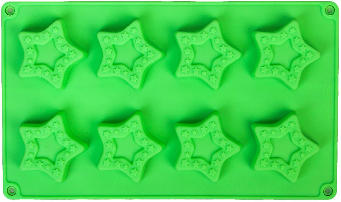 Форма для выпечки Доляна Звезды в звездах, цвет: зеленый, 8 ячеек, 26,7 х 16 х 1,7 см2570345_зеленыйОт качества посуды зависит не только вкус еды, но и здоровье человека. — товар, соответствующий российским стандартам качества. Любой хозяйке будет приятно держать его в руках. С нашей посудой и кухонной утварью приготовление еды и сервировка стола превратятся в настоящий праздник.