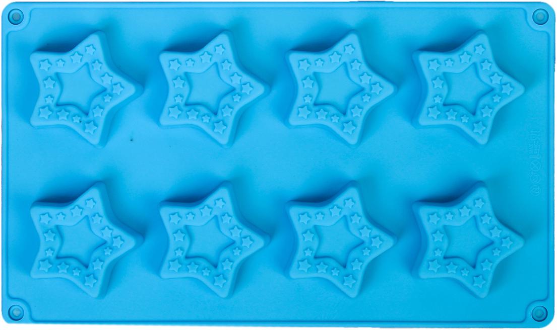 Форма для выпечки Доляна Звезды в звездах, цвет: голубой, 8 ячеек, 26,7 х 16 х 1,7 см2570345_голубойОт качества посуды зависит не только вкус еды, но и здоровье человека. — товар, соответствующий российским стандартам качества. Любой хозяйке будет приятно держать его в руках. С нашей посудой и кухонной утварью приготовление еды и сервировка стола превратятся в настоящий праздник.