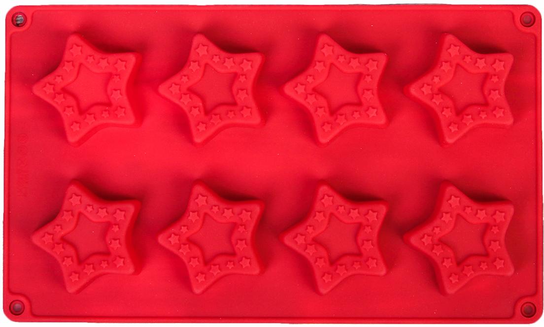 Форма для выпечки Доляна Звезды в звездах, цвет: красный, 8 ячеек, 26,7 х 16 х 1,7 см2570345_красныйОт качества посуды зависит не только вкус еды, но и здоровье человека. — товар, соответствующий российским стандартам качества. Любой хозяйке будет приятно держать его в руках. С нашей посудой и кухонной утварью приготовление еды и сервировка стола превратятся в настоящий праздник.