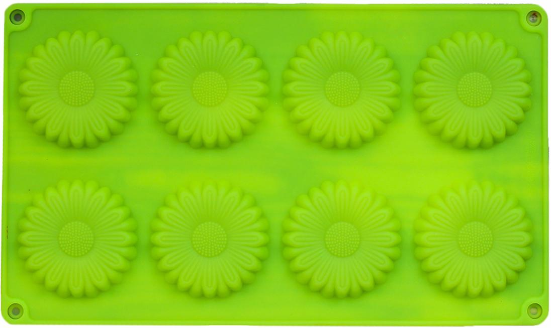 Форма для выпечки Доляна Ромашка, цвет: зеленый, 8 ячеек, 27 х 16 х 1 см2570342_зеленыйОт качества посуды зависит не только вкус еды, но и здоровье человека. — товар, соответствующий российским стандартам качества. Любой хозяйке будет приятно держать его в руках. С нашей посудой и кухонной утварью приготовление еды и сервировка стола превратятся в настоящий праздник.