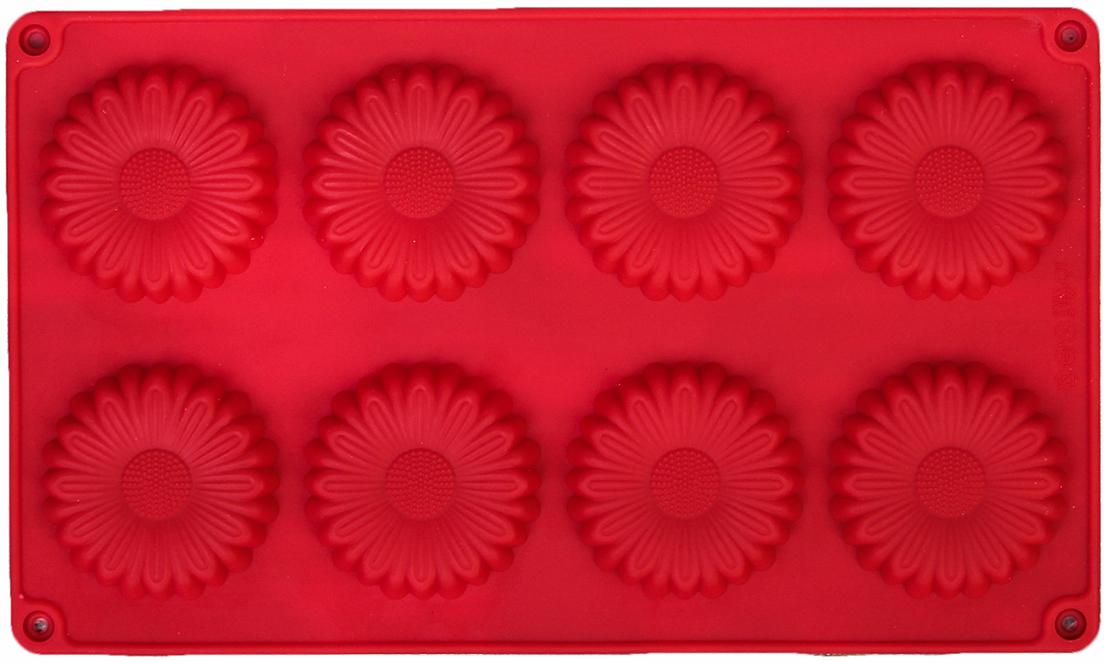 Форма для выпечки Доляна Ромашка, цвет: красный, 8 ячеек, 27 х 16 х 1 см2570342_красныйОт качества посуды зависит не только вкус еды, но и здоровье человека. — товар, соответствующий российским стандартам качества. Любой хозяйке будет приятно держать его в руках. С нашей посудой и кухонной утварью приготовление еды и сервировка стола превратятся в настоящий праздник.