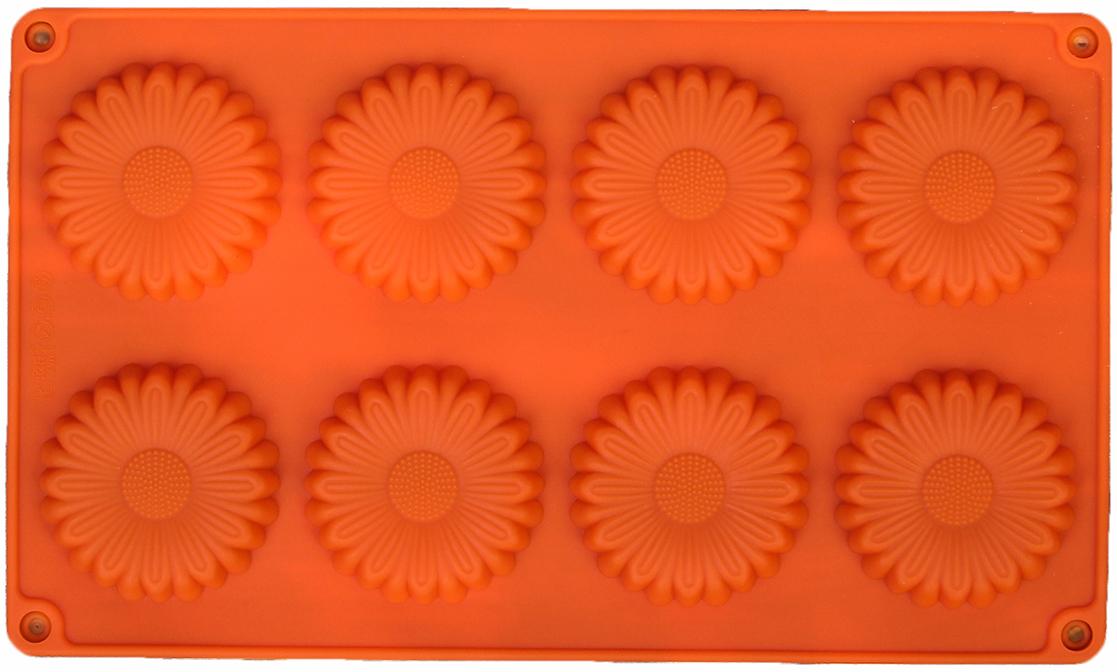 Форма для выпечки Доляна Ромашка, цвет: оранжевый, 8 ячеек, 27 х 16 х 1 см2570342_оранжевыйОт качества посуды зависит не только вкус еды, но и здоровье человека. — товар, соответствующий российским стандартам качества. Любой хозяйке будет приятно держать его в руках. С нашей посудой и кухонной утварью приготовление еды и сервировка стола превратятся в настоящий праздник.