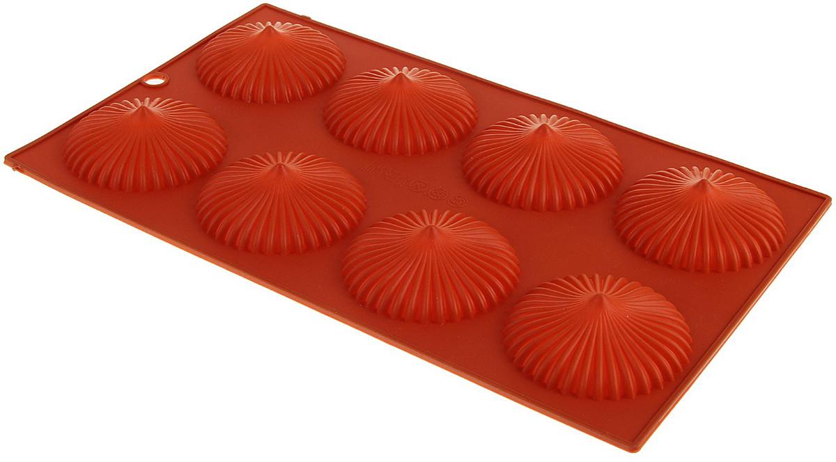 Форма для выпечки Доляна Трюфель, 8 ячеек, 28,5 х 17 х 1,5 см1687543Форма для выпечки из силикона — современное решение для практичных и радушных хозяек. Оригинальный предмет позволяет готовить вкуснейшую выпечку — кексы, запеканки и печенье. Почему это изделие должно быть на кухне? блюдо сохраняет нужную форму и легко отделяется от стенок после приготовления; высокая термостойкость (от –40 до 230 ?) позволяет применять форму в духовых шкафах и морозильных камерах; небольшая масса делает эксплуатацию предмета простой даже для хрупкой женщины; силикон пригоден для посудомоечных машин; высокопрочный материал делает форму долговечным инструментом; при хранении предмет занимает мало места. Советы по использованию формы Перед первым применением промойте предмет теплой водой. В процессе приготовления используйте кухонный инструмент из дерева, пластика или силикона. Перед извлечением блюда из силиконовой формы дайте ему немного остыть, осторожно отогните края предмета. Готовьте с удовольствием!