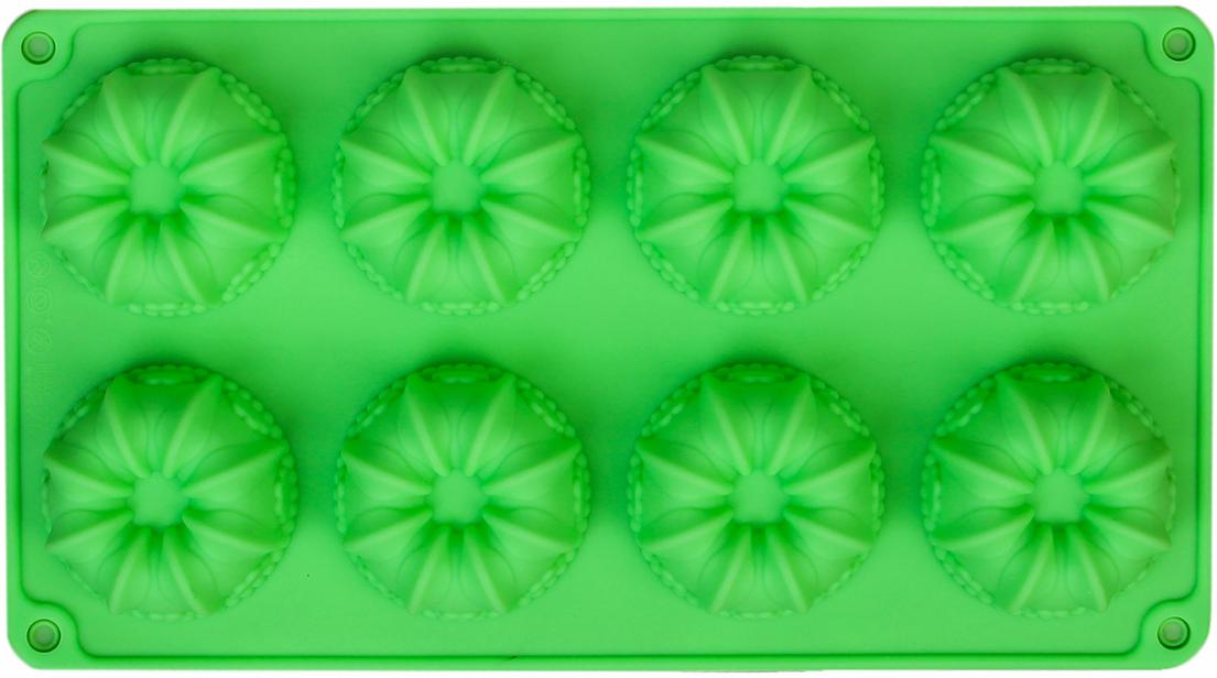 Форма для выпечки Доляна Немецкий кекс. Торжество, цвет: зеленый, 8 ячеек, 28,6 х 16 х 3,3 см2570339_зеленыйОт качества посуды зависит не только вкус еды, но и здоровье человека. — товар, соответствующий российским стандартам качества. Любой хозяйке будет приятно держать его в руках. С нашей посудой и кухонной утварью приготовление еды и сервировка стола превратятся в настоящий праздник.