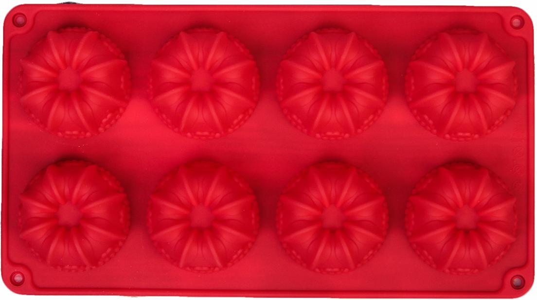 Форма для выпечки Доляна Немецкий кекс. Торжество, цвет: красный, 8 ячеек, 28,6 х 16 х 3,3 см2570339_красныйОт качества посуды зависит не только вкус еды, но и здоровье человека. — товар, соответствующий российским стандартам качества. Любой хозяйке будет приятно держать его в руках. С нашей посудой и кухонной утварью приготовление еды и сервировка стола превратятся в настоящий праздник.