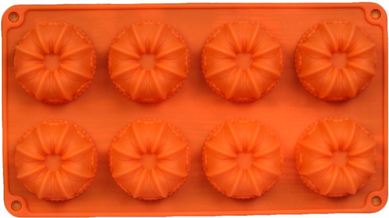 Форма для выпечки Доляна Немецкий кекс. Торжество, цвет: оранжевый, 8 ячеек, 28,6 х 16 х 3,3 см2570339_оранжевыйФорма для выпечки Доляна Немецкий кекс. Торжество- современное решение для практичных ирадушных хозяек. Оригинальный предмет позволяет готовить в духовке любимые блюда, а такжевкуснейшую выпечку.Особенности:- блюдо сохраняет нужную форму и легко отделяется от стенок после приготовления;- высокая термостойкость (от -40°С до +230°С) позволяет применять форму в духовых шкафах иморозильных камерах; - небольшая масса делает эксплуатацию предмета простой даже для хрупкой женщины; - силикон пригоден для посудомоечных машин; - высокопрочный материал делает форму долговечным инструментом; - при хранении предмет занимает мало места. Перед первым применением промойте предмет теплой водой. В процессе приготовленияиспользуйте кухонный инструмент из дерева, пластика или силикона. Перед извлечением блюдаиз силиконовой формы дайте ему немного остыть, осторожно отогните края предмета.Каквыбрать форму для выпечки - статья на OZON Гид.