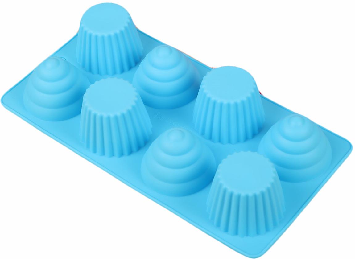 Форма для выпечки Доляна Пирамидки, цвет: голубой, 8 ячеек, 28 х 14,5 х 4 см2582078_голубойОт качества посуды зависит не только вкус еды, но и здоровье человека. Форма для выпечки 28х14,5х4 см Пирамидки, 8 ячеек, цвета — товар, соответствующий российским стандартам качества. Любой хозяйке будет приятно держать его в руках. С нашей посудой и кухонной утварью приготовление еды и сервировка стола превратятся в настоящий праздник.
