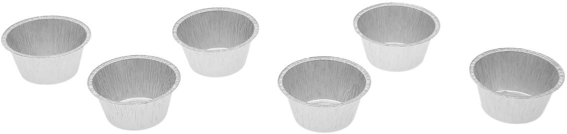 Форма из фольги Доляна, 135 мл, 6 шт1668345Данные одноразовые контейнеры предназначены для хранения полуфабрикатов и готовых блюд, а также разогрева и приготовления еды в СВЧ или обычной печи. Термостойкие емкости можно использовать для разных целей: от выпечки или запекания на гриле до глубокой заморозки. При этом посуда не деформируется, а блюдо в ней не плавится. Изделия выполнены из пищевой алюминиевой фольги. Она не вступает в реакцию с продуктами, не поглощает жир и влагу, а ее структура позволяет сохранить вкус еды. Высокая теплопроводность алюминия сокращает время приготовления. Такие контейнеры производятся методом штамповки: в процессе на емкость наносится нужное число ребер жесткости, благодаря этому посуда устойчива к механическому воздействию.135 мл, 6 шт.
