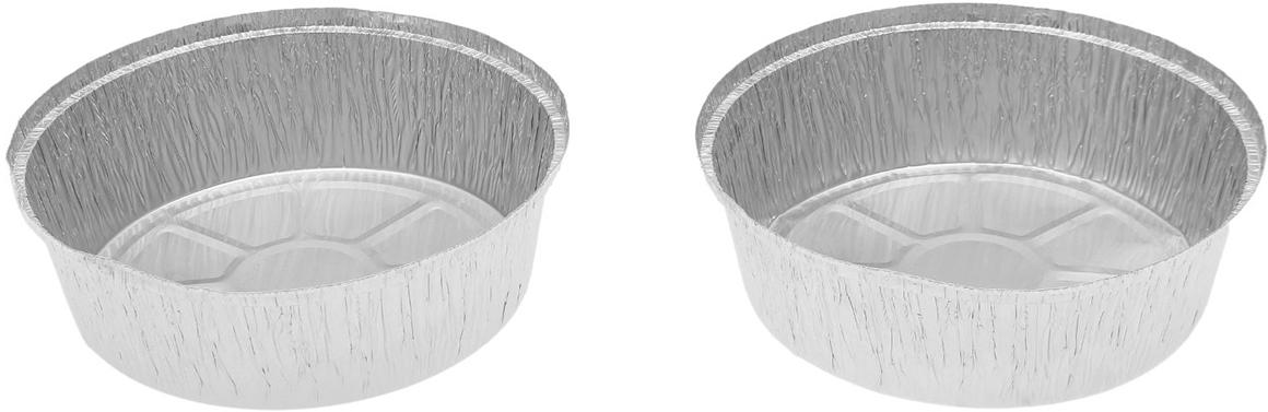 Форма из фольги Доляна, 1440 мл, 2 шт1668344Данные одноразовые контейнеры предназначены для хранения полуфабрикатов и готовых блюд, а также разогрева и приготовления еды в СВЧ или обычной печи. Термостойкие емкости можно использовать для разных целей: от выпечки или запекания на гриле до глубокой заморозки. При этом посуда не деформируется, а блюдо в ней не плавится. Изделия выполнены из пищевой алюминиевой фольги. Она не вступает в реакцию с продуктами, не поглощает жир и влагу, а ее структура позволяет сохранить вкус еды. Высокая теплопроводность алюминия сокращает время приготовления. Такие контейнеры производятся методом штамповки: в процессе на емкость наносится нужное число ребер жесткости, благодаря этому посуда устойчива к механическому воздействию.