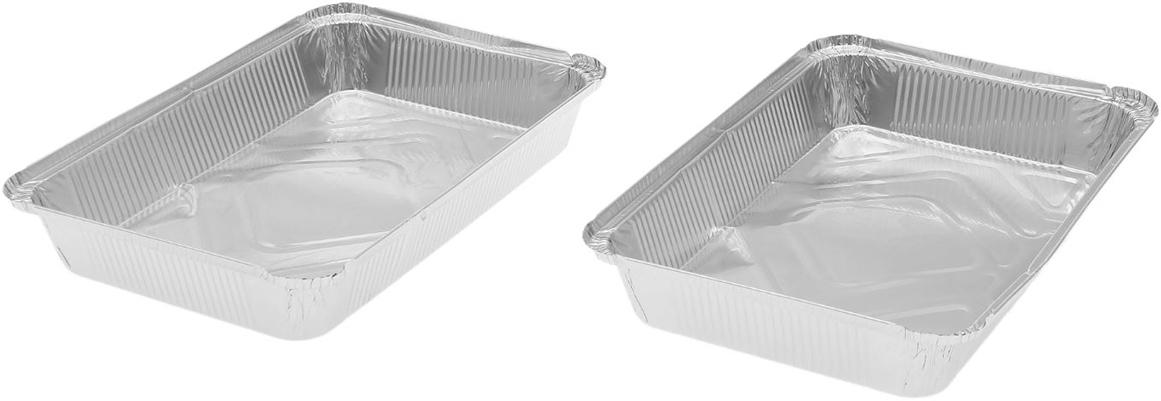 Данные одноразовые контейнеры предназначены для хранения полуфабрикатов и готовых блюд, а также разогрева и приготовления еды в СВЧ или обычной печи. Термостойкие емкости можно использовать для разных целей: от выпечки или запекания на гриле до глубокой заморозки. При этом посуда не деформируется, а блюдо в ней не плавится. Изделия выполнены из пищевой алюминиевой фольги. Она не вступает в реакцию с продуктами, не поглощает жир и влагу, а ее структура позволяет сохранить вкус еды. Высокая теплопроводность алюминия сокращает время приготовления. Такие контейнеры производятся методом штамповки: в процессе на емкость наносится нужное число ребер жесткости, благодаря этому посуда устойчива к механическому воздействию.