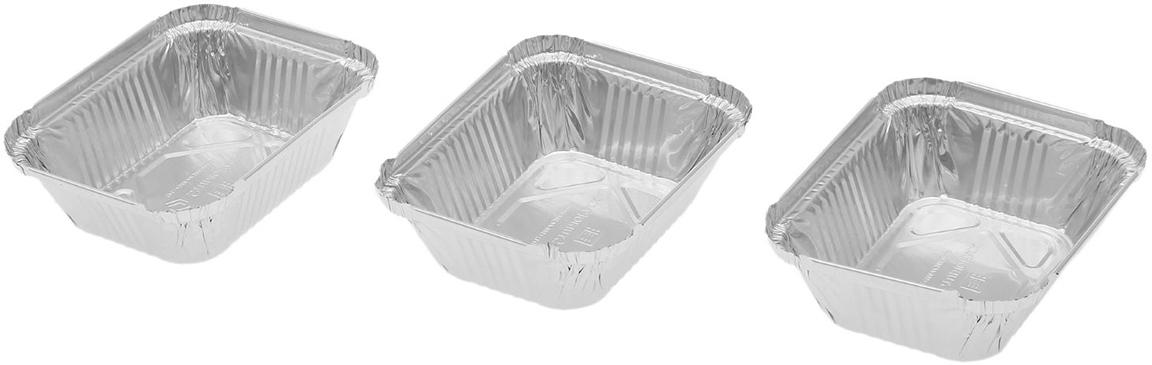 Форма из фольги Доляна, 255 мл, 3 шт1668334Данные одноразовые контейнеры предназначены для хранения полуфабрикатов и готовых блюд, а также разогрева и приготовления еды в СВЧ или обычной печи. Термостойкие емкости можно использовать для разных целей: от выпечки или запекания на гриле до глубокой заморозки. При этом посуда не деформируется, а блюдо в ней не плавится. Изделия выполнены из пищевой алюминиевой фольги. Она не вступает в реакцию с продуктами, не поглощает жир и влагу, а ее структура позволяет сохранить вкус еды. Высокая теплопроводность алюминия сокращает время приготовления. Такие контейнеры производятся методом штамповки: в процессе на емкость наносится нужное число ребер жесткости, благодаря этому посуда устойчива к механическому воздействию.
