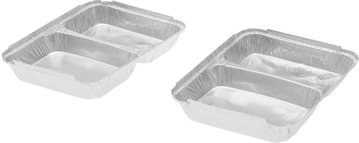 Форма из фольги Доляна, 520/320 мл, 2 шт1668341Данные одноразовые контейнеры предназначены для хранения полуфабрикатов и готовых блюд, а также разогрева и приготовления еды в СВЧ или обычной печи. Термостойкие емкости можно использовать для разных целей: от выпечки или запекания на гриле до глубокой заморозки. При этом посуда не деформируется, а блюдо в ней не плавится. Изделия выполнены из пищевой алюминиевой фольги. Она не вступает в реакцию с продуктами, не поглощает жир и влагу, а ее структура позволяет сохранить вкус еды. Высокая теплопроводность алюминия сокращает время приготовления. Такие контейнеры производятся методом штамповки: в процессе на емкость наносится нужное число ребер жесткости, благодаря этому посуда устойчива к механическому воздействию.