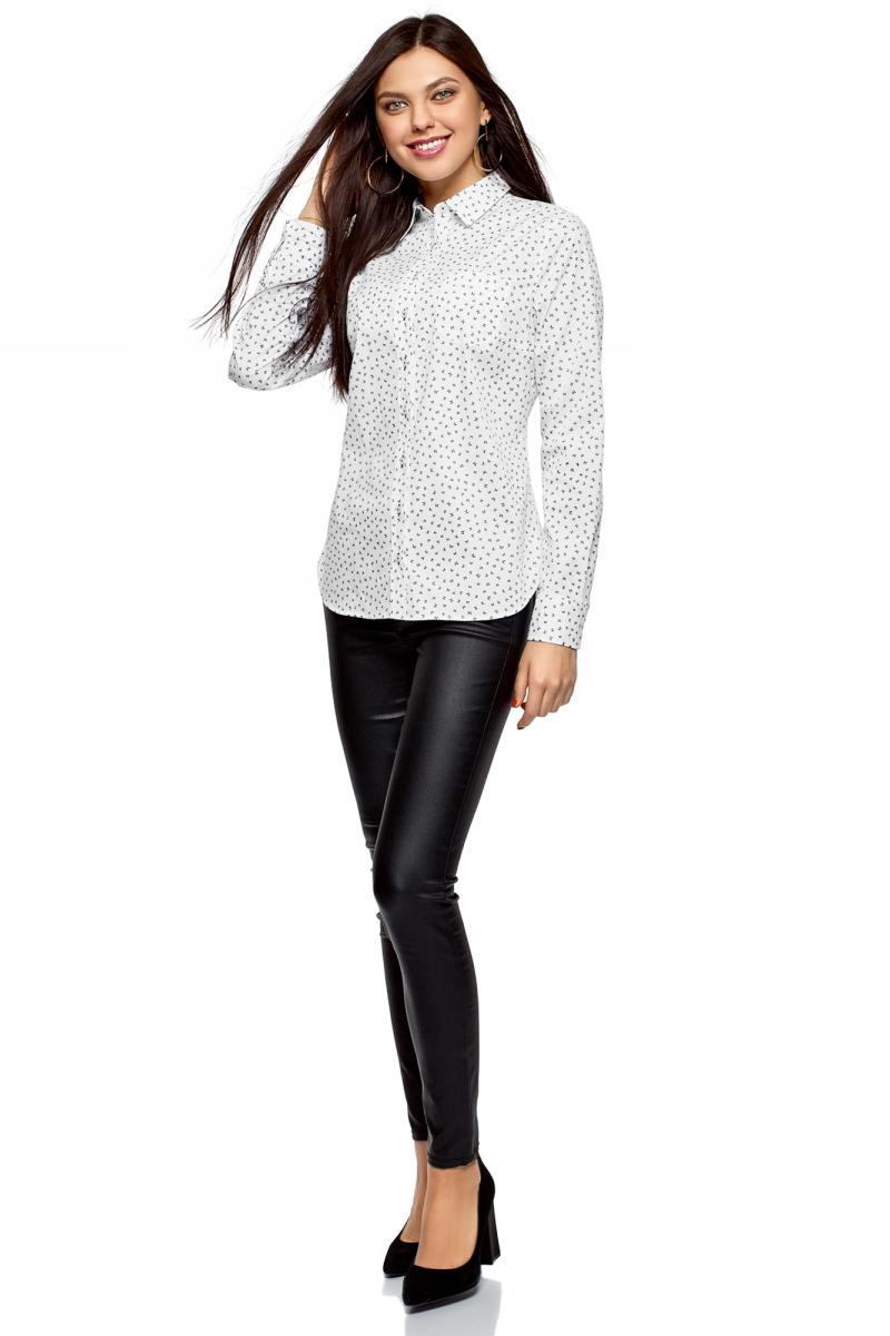 Рубашка женская oodji Ultra, цвет: белый, черный, бабочка. 13K03007B/26357/1029U. Размер 40-170 (46-170)13K03007B/26357/1029UРубашка от oodji выполнена из эластичного хлопка. Модель с длинными рукавами и отложным воротником застегивается на пуговицы, на груди дополнена накладным кармашком.