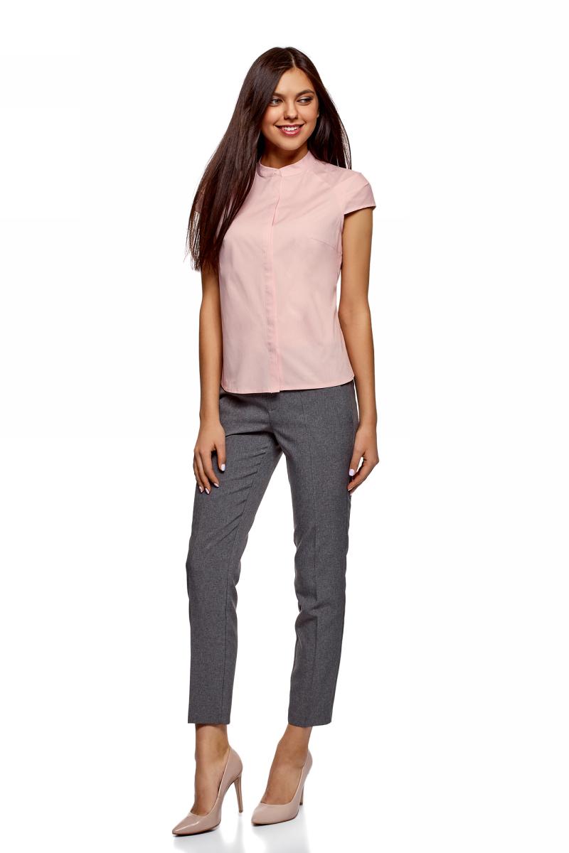 все цены на Рубашка женская oodji Ultra, цвет: светло-розовый. 13K03006B/26357/4000N. Размер 34-170 (40-170) онлайн