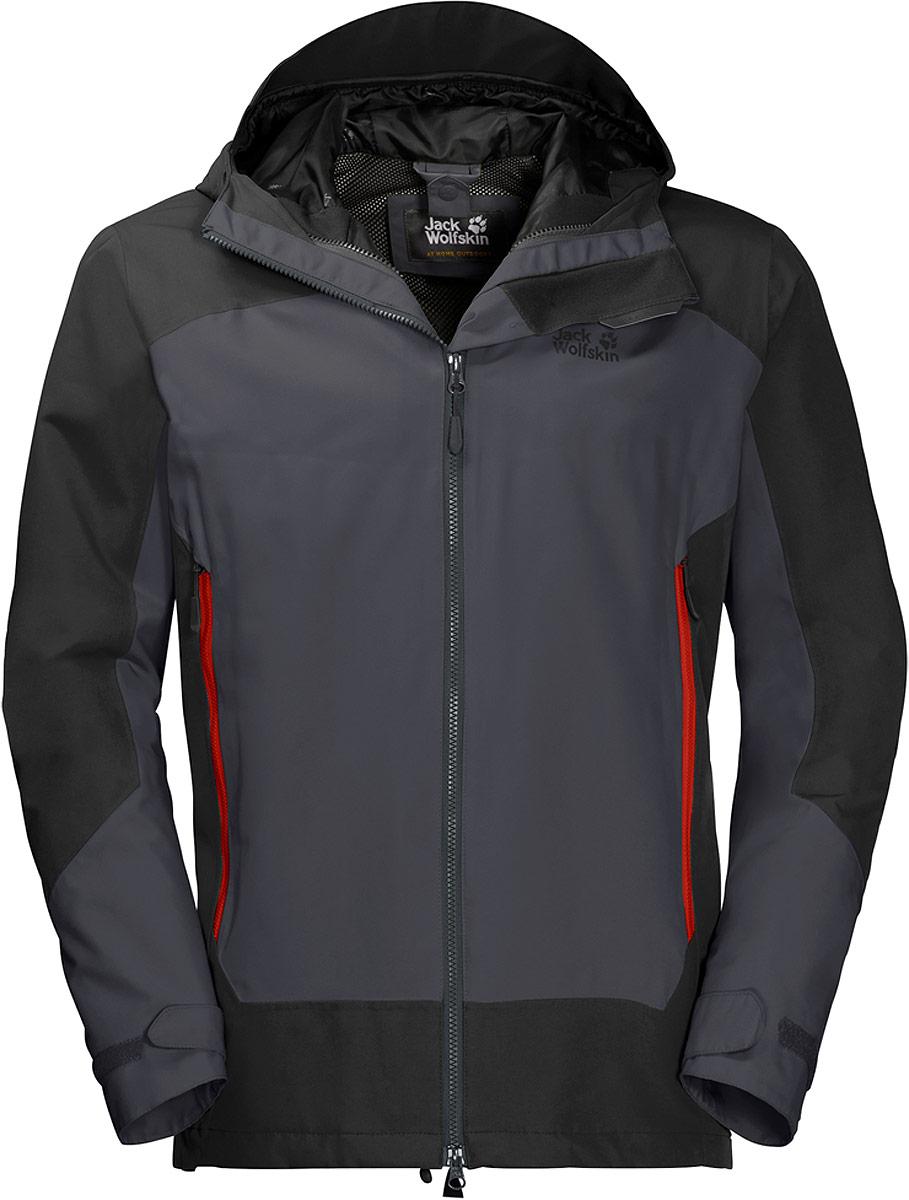 Куртка мужская Jack Wolfskin North Slope, цвет: серый. 1108383-6230. Размер XXL (54)1108383-6230Целый день на природе, и все что вы видите - это непрекращающийся дождь? Не волнуйтесь. С курткой North Slope от Jack Wolfskin погода не имеет значения. Эта практичная базовая мембранная куртка, защищающая вас от влаги, сделана из особо прочного материала Тексапор и имеет слегка удлиненный покрой. Для гарантированной защиты от снега, дождя и ветра. Если вам потребуется немного больше тепла, вы сможете воспользоваться системной застежкой-молнией, чтобы объединить ее с подходящей внутренней курткой, и это даст вам практичное сочетание теплоизоляции и защиты от непогоды.