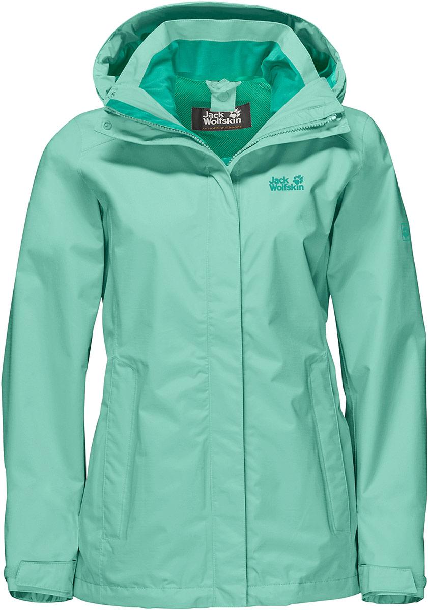 Куртка женская Jack Wolfskin Seven Lakes Jacket, цвет: зеленый. 1108591-4091. Размер XL (52/54)1108591-4091Все небо затянуто низкими тучами и, кажется, собирается дождь. Но это не помешает вам наслаждаться прогулкой. Потому что, если на вас куртка Seven Lakes от Jack Wolfskin, вы знаете, что не промокнете. Это одна из самых легких водонепроницаемых и дышащих курток для хайкинга. И у нее есть еще масса других практичных свойств. Таких, например, как системная застежка-молния, которая позволяет превратить ее в зимнюю куртку; или регулируемый капюшон, который можно отстегнуть, когда в нем нет необходимости. И когда снова засияет солнце и куртка будет больше не нужна, ее можно очень компактно сложить. Она весит всего несколько сотен граммов, поэтому вы почти не заметите ее в своем рюкзаке. В холодные зимние дни просто состегните ее с теплой внутренней курткой. Системная застежка-молния - это очень просто.