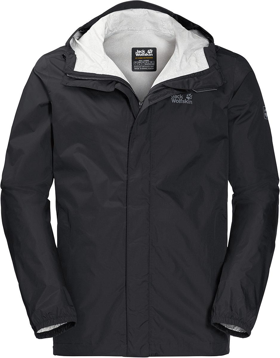 Куртка мужская Jack Wolfskin Cloudburst M, цвет: черный. 1108902-6000. Размер XL (52)1108902-6000Куртка мужская Jack Wolfskin Cloudburst M выполнена из полиамида. Эта прекрасно дышащая куртка обладает водо- и ветронепроницаемыми свойствами. Модель имеет слегка удлиненный покрой. Изделие складывается и помещается в свой собственный карман, за счет чего почти не занимает места в вашем рюкзаке.
