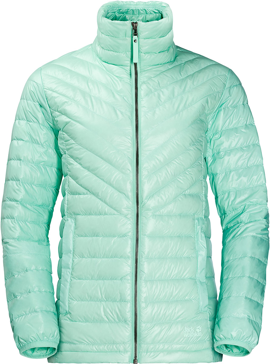 Пуховик женский Jack Wolfskin Vista Jacket, цвет: зеленый. 1204081-4091. Размер S (44)1204081-4091Есть несколько веских причин для того, чтобы носить пуховую куртку круглый год. Она теплая, легкая и компактная. И в случае с Vista Jacket от Jack Wolfskin защита от холодного ветра вам обеспечена. В прохладную погоду эта ветронепроницаемая пуховая куртка обеспечивает эффективную теплоизоляцию. Благодаря минимальному весу, Vista Jacket можно комбинировать с мембранной курткой.