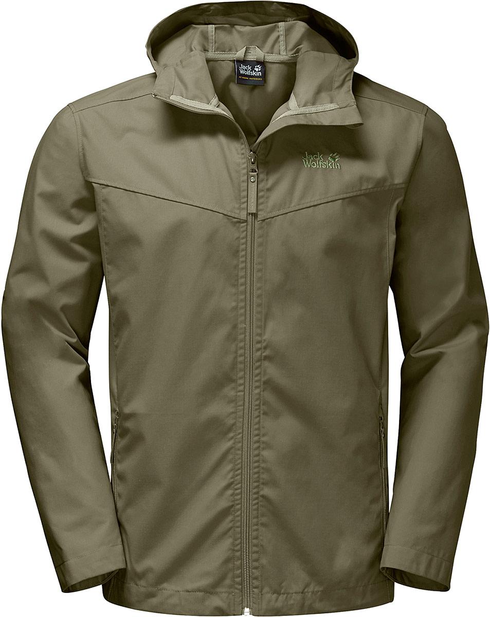 Куртка мужская Jack Wolfskin Amber Road Jacket M, цвет: оливковый. 1303912-5033. Размер XL (52) платье jack wolfskin wahia dress цвет коралловый 1502892 2043 размер xl 50 52