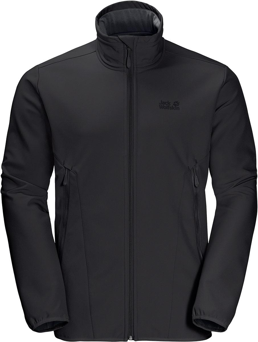 Куртка мужская Jack Wolfskin Northern Pass Jacket, цвет: черный. 1305331-6000. Размер L (48/50)1305331-6000Пакуете вещи для похода на выходных или для поездки на побережье? Если вы хотите чтобы, когда вы на природе, все было просто, куртка Northern Pass - это то, что вам нужно. Эта простая софтшелл куртка защитит вас от ветра, ее комфортно носить, и она создана для того, чтобы выдерживать суровые испытания. Материал Штормлок обладает износоустойчивостью, и он такой эластичный, что куртка не будет сковывать ваши движения. А изнанка мягкого флиса дарит коже непревзойденный комфорт.