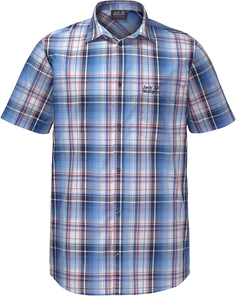 Рубашка мужская Jack Wolfskin Hot Chili Shirt M, цвет: темно-синий. 1400244-7630. Размер XL (52) рубашка мужская jack wolfskin hot chili shirt m цвет оранжевый 1400244 7802 размер xxl 54