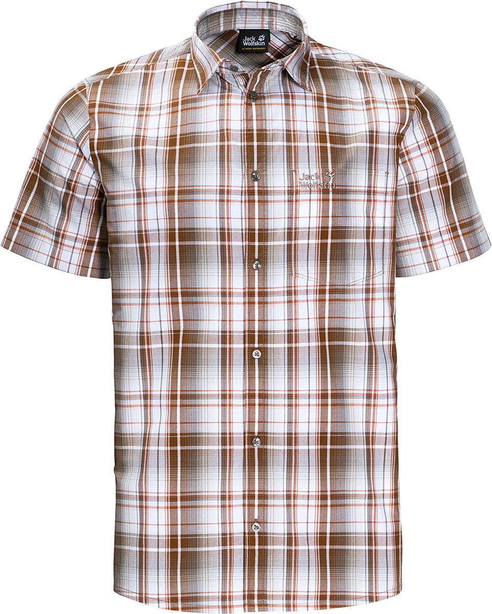 Рубашка мужская Jack Wolfskin Hot Chili Shirt M, цвет: оранжевый. 1400244-7802. Размер XXL (54)1400244-7802Рубашка мужская Hot Chili Shirt M изготовлена из 100% натурального хлопка. В ней вы будете чувствовать себя комфортно в жаркую погоду. Модель отлично вентилируется и дает ощущение прохлады. Рубашка застегивается на пуговицы, имеет отложной воротник и короткие стандартные рукава. Спереди расположен накладной нагрудный карман. Рубашка дополнена принтом в клетку и логотипом бренда.