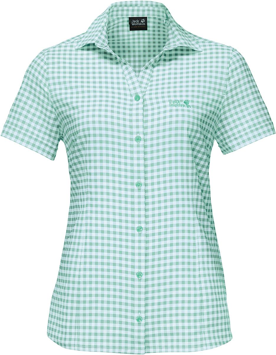 Рубашка женская Kepler Shirt W, цвет: зеленый. 1401723-7734. Размер S (44)1401723-7734Рубашка женская Kepler Shirt выполнена из 100% полиэстера. Ткань дышащая, легкая, приятная на ощупь и эластичная, она обладает высокой защитой от ультрафиолета (UPF 50+) и быстро сохнет. Рубашка застегивается на пуговицы, имеет отложной воротник и короткие стандартные рукава, а также секретный карман. Модель дополнена принтом в клетку и логотипом бренда. Такая рубашка идеально подходит для путешествий в жаркие страны и повседневной носки в летний сезон.