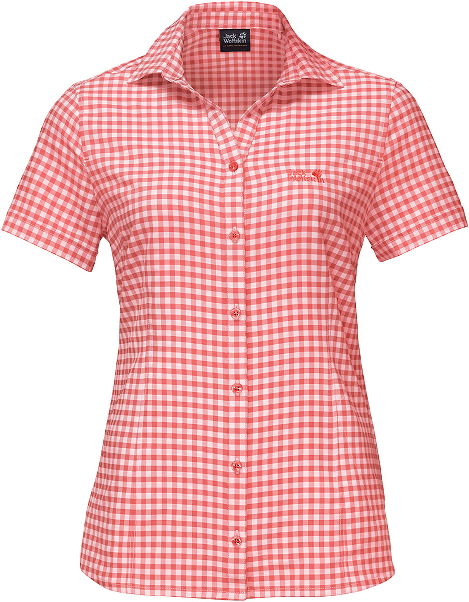 Рубашка женская Kepler Shirt W, цвет: коралловый. 1401723-7971. Размер S (44)1401723-7971Рубашка женская Kepler Shirt выполнена из 100% полиэстера. Ткань дышащая, легкая, приятная на ощупь и эластичная, она обладает высокой защитой от ультрафиолета (UPF 50+) и быстро сохнет. Рубашка застегивается на пуговицы, имеет отложной воротник и короткие стандартные рукава, а также секретный карман. Модель дополнена принтом в клетку и логотипом бренда. Такая рубашка идеально подходит для путешествий в жаркие страны и повседневной носки в летний сезон.