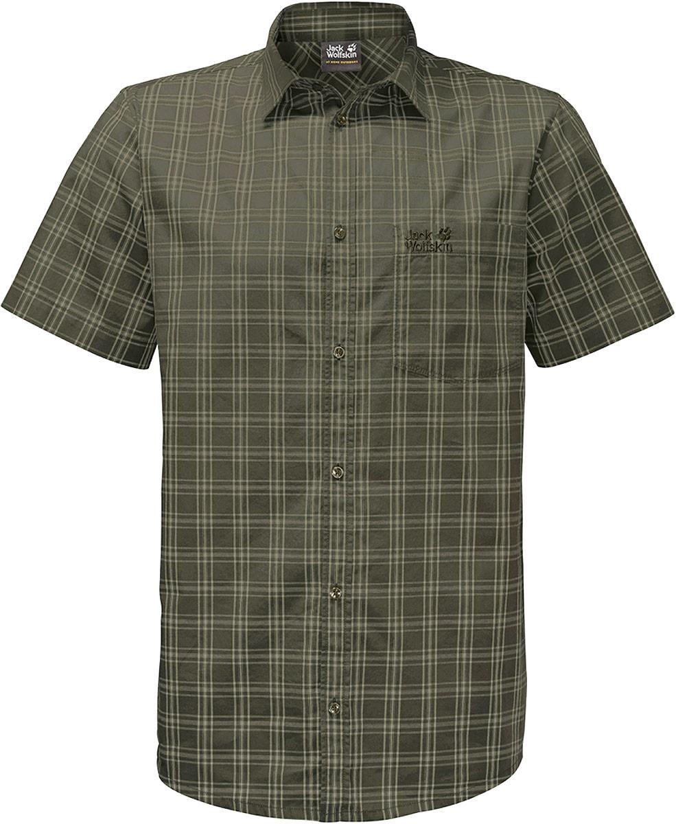 Рубашка мужская Jack Wolfskin Hot Springs Shirt, цвет: оливковый. 1402331-7825. Размер XXXL (56) рубашка мужская jack wolfskin hot chili shirt m цвет оранжевый 1400244 7802 размер xxl 54