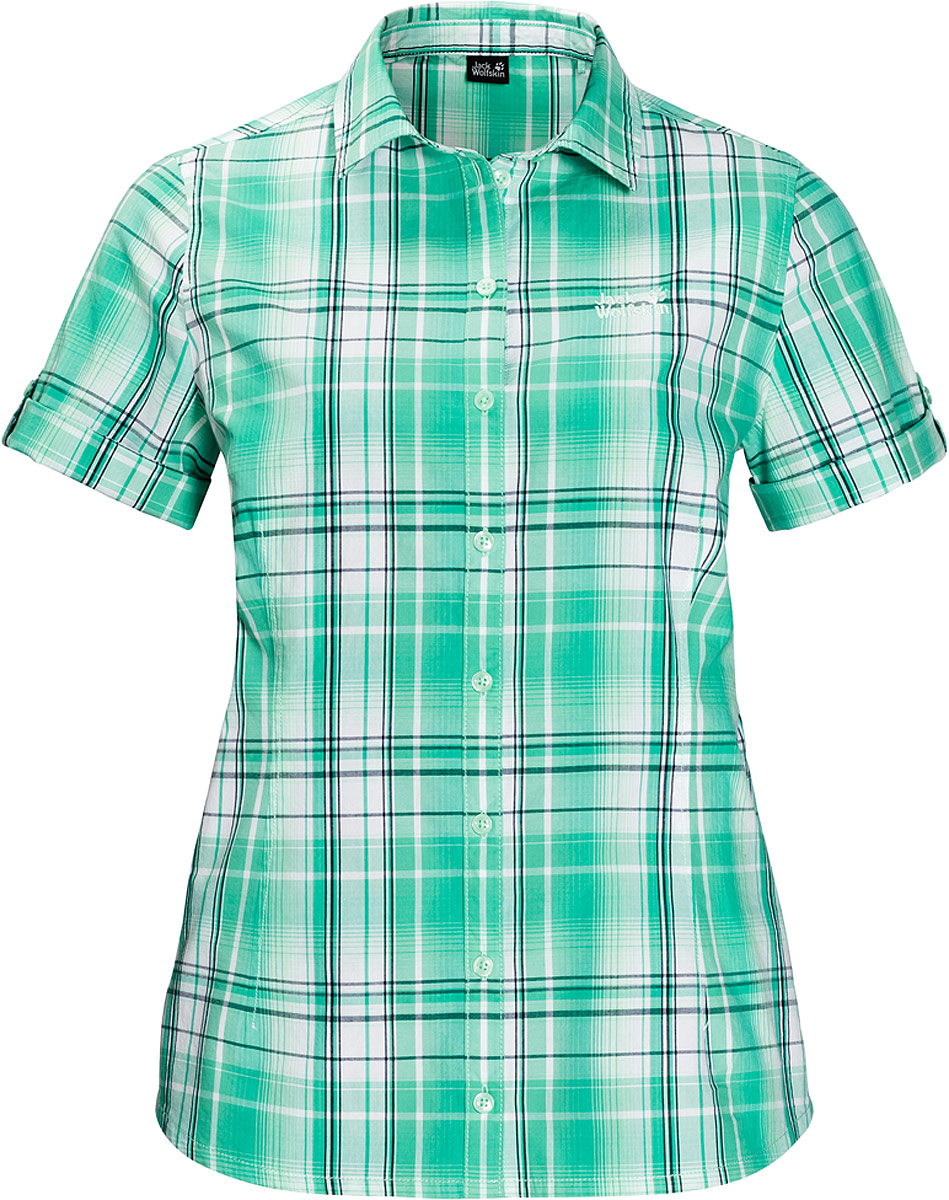 Рубашка женская Jack Wolfskin Maroni River Shirt W, цвет: зеленый. 1402411-7734. Размер XS (42)1402411-7734Рубашка Maroni River Shirt W выполнена из 100% натурального хлопка. В ней вы будете чувствовать себя комфортно в жаркую погоду. Модель отлично вентилируется и дает ощущение прохлады. Рубашка застегивается на пуговицы, имеет отложной воротник и короткие стандартные рукава. Модель дополнена принтом в клетку и логотипом бренда. Такая рубашка идеально подходит для путешествий в жаркие страны и повседневной носки в летний сезон.