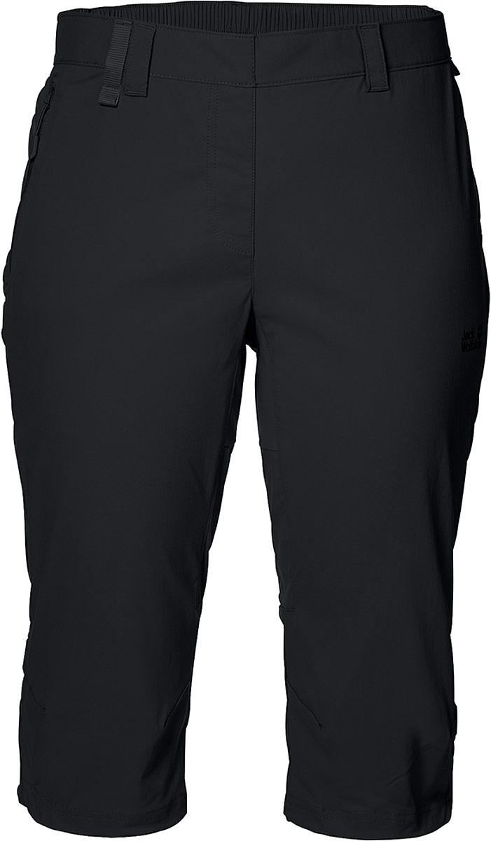 Бриджи женские Jack Wolfskin Activate Light 3/4 Pants, цвет: черный. 1503721-6000. Размер 38 (46/48)1503721-6000Бриджи длиной до колен. Новые софтшельные бриджи для хайкинга Activate Light 3/4 Pants от Jack Wolfskin намного легче, чем их традиционный аналог, и гораздо лучше дышат. А благодаря софтшеллу, они более эластичны. И, конечно же, регулируется нижний край брючин. Эти бриджи имеют все достоинства линейки одежды из софтшелла. они по умолчанию ветро- и водонепроницаемые.