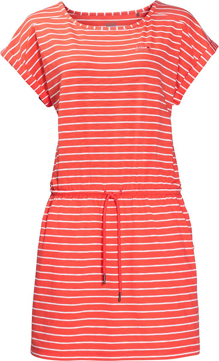 Платье Jack Wolfskin Travel Striped Dress, цвет: коралловый. 1504062-7777. Размер M (50)1504062-7777Можно провести весь день на пляже или в парке, наслаждаясь теплом и чувствуя себя комфортно на протяжении всего дня. Легкое платье свободного покроя Travel Striped Dress от Jack Wolfskin сделает ваш летний день еще более беззаботным. Вы можете затянуть его по фигуре с помощью шнурка на талии, или носить его, как свободную тунику. В сочетании с леггинсами, платье представляет собой идеальный вариант для путешествия на самолете или поезде. Невероятно мягкая ткань платья очень приятна на ощупь, а еще она мгновенно высохнет, если вас случайно настигнет летняя гроза. Особая функция защиты от неприятных запахов подарит вам свежесть даже самым жарким летним днем.