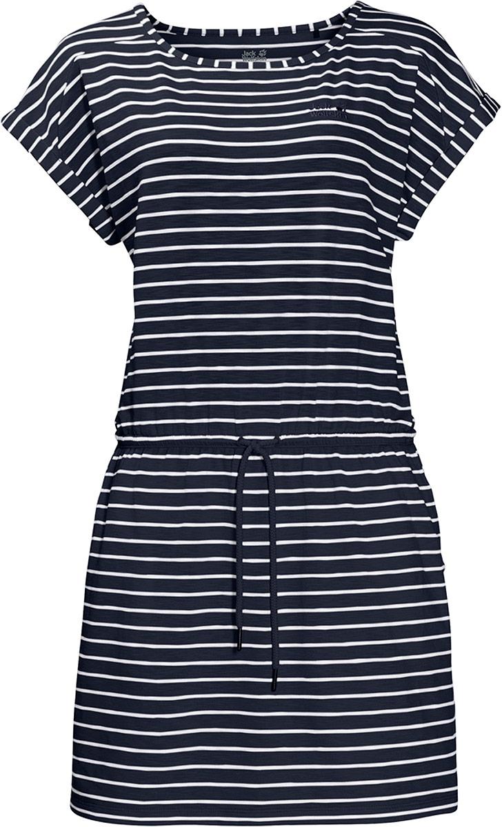 Платье Jack Wolfskin Travel Striped Dress, цвет: темно-синий. 1504062-7819. Размер XXL (46)1504062-7819Можно провести весь день на пляже или в парке, наслаждаясь теплом и чувствуя себя комфортно на протяжении всего дня. Легкое платье свободного покроя Travel Striped Dress от Jack Wolfskin сделает ваш летний день еще более беззаботным. Вы можете затянуть его по фигуре с помощью шнурка на талии, или носить его, как свободную тунику. В сочетании с леггинсами, платье представляет собой идеальный вариант для путешествия на самолете или поезде. Невероятно мягкая ткань платья очень приятна на ощупь, а еще она мгновенно высохнет, если вас случайно настигнет летняя гроза. Особая функция защиты от неприятных запахов подарит вам свежесть даже самым жарким летним днем.