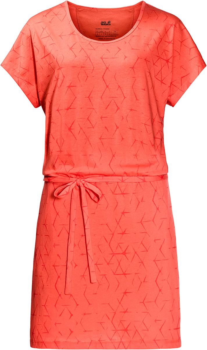 Платье Jack Wolfskin Shibori Dress, цвет: коралловый. 1504302-7743. Размер M (46/48)1504302-7743Новое слово в летнем гардеробе. Платье Shibori Dress от Jack Wolfskin может стать отличным выбором для неторопливой прогулки по пляжу или отдыха в парке. Мягкая ткань класса люкс на 50% состоит из органического хлопка и чрезвычайно приятна на ощупь. Популярный паттерн Шибори происходит из древнего японского метода окрашивания ткани.
