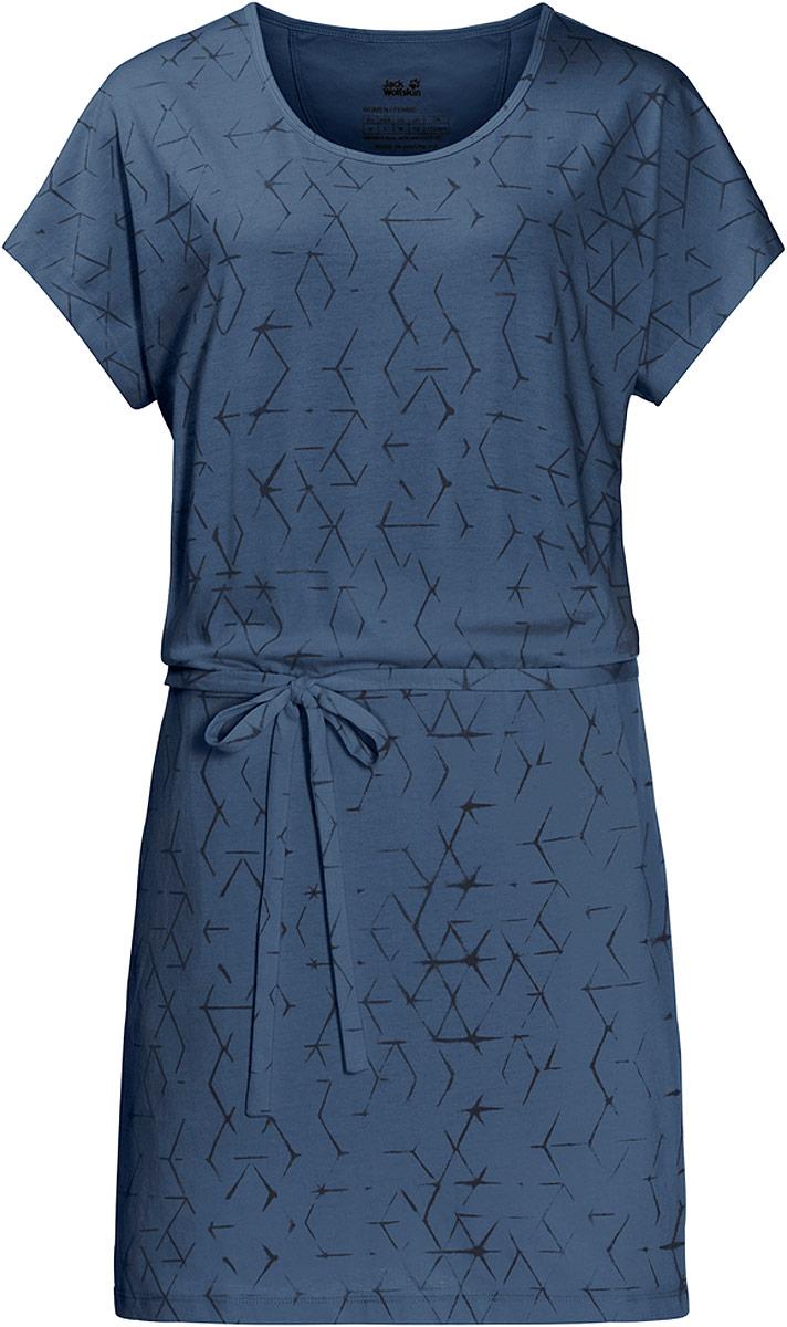 Платье Jack Wolfskin Shibori Dress, цвет: синий. 1504302-7863. Размер L (50)1504302-7863Новое слово в летнем гардеробе. Платье Shibori Dress от Jack Wolfskin может стать отличным выбором для неторопливой прогулки по пляжу или отдыха в парке. Мягкая ткань класса люкс на 50% состоит из органического хлопка и чрезвычайно приятна на ощупь. Популярный паттерн Шибори происходит из древнего японского метода окрашивания ткани.