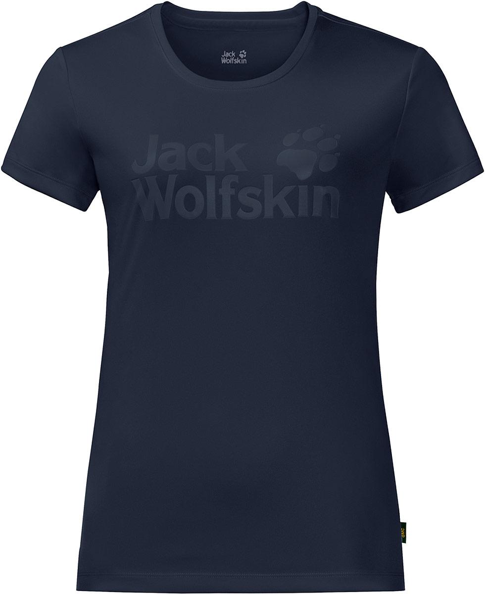 Футболка женская Jack Wolfskin Rock Chill Logo T, цвет: темно-синий. 1805541-1910. Размер XL (52/54)1805541-1910Футболка Rock Chill Logo T от Jack Wolfskin обладает особым свойством регуляции внутреннего микроклимата. Она охлаждает вас, когда жарко, и удерживает тепло, когда прохладно. Футболка невероятно удобна, если вы наденете ее в поход или на пробежку. Легкая ткань отлично дышит и быстро отводит влагу, поэтому вы чувствуете себя комфортно в течение всего дня. А еще футболка очень быстро сохнет - солидный бонус в знойную погоду или в случае, если ее нужно быстро постирать. В длительных поездках или после занятий спортом вы несомненно оцените функцию контроля запаха вашей Rock Chill Logo T.