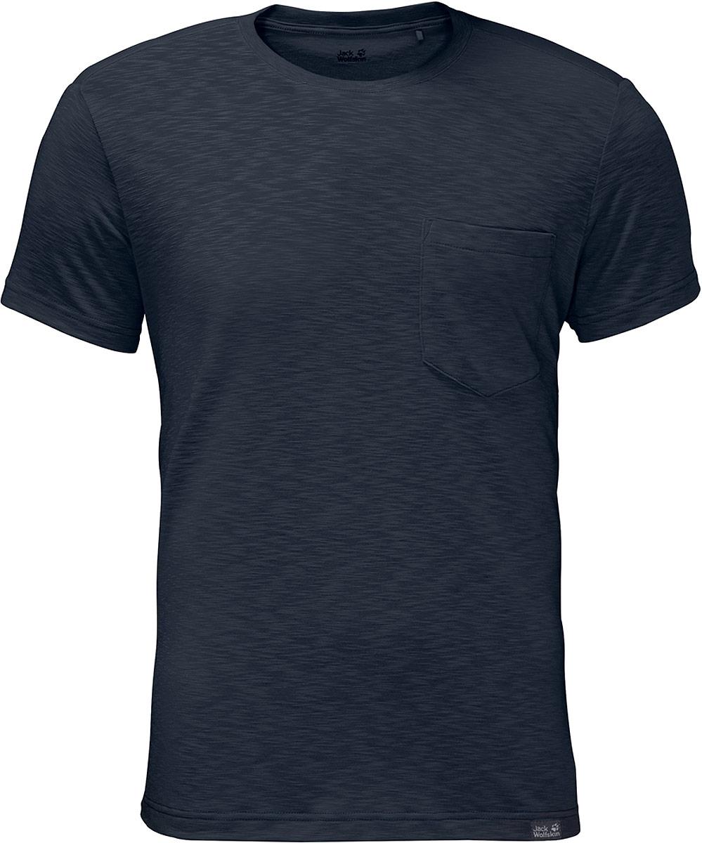 Футболка мужская Jack Wolfskin Travel T, цвет: темно-синий. 1805591-1010. Размер XXXL (56) футболка мужская jack wolfskin rock chill logo t цвет черный 1806171 6000 размер xxxl 56