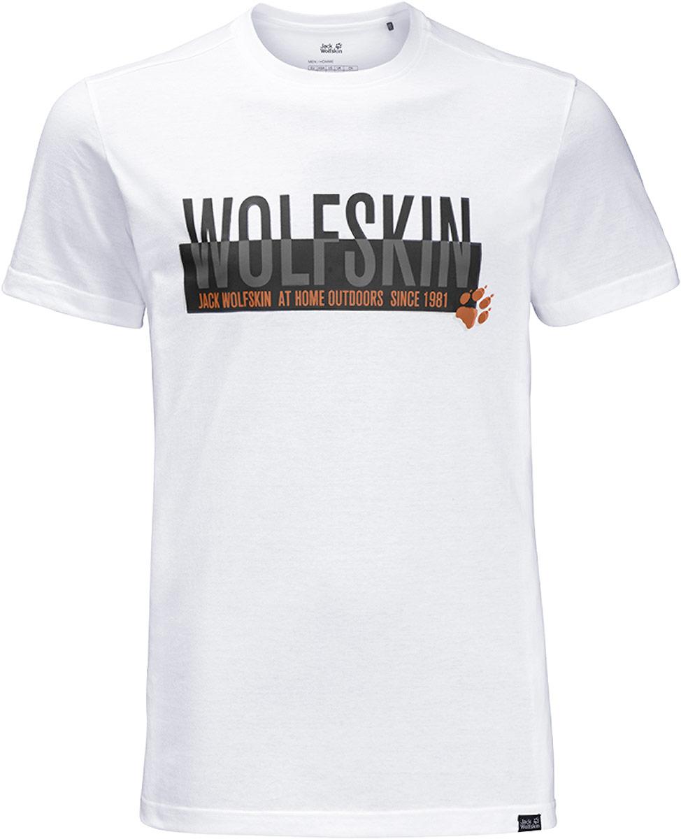 Футболка мужская Jack Wolfskin Slogan T M, цвет: белый. 1805641-5018. Размер XXXL ()