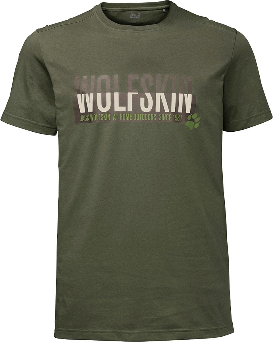 Футболка мужская Jack Wolfskin Slogan T M, цвет: оливковый. 1805641-5052. Размер XXXL ()