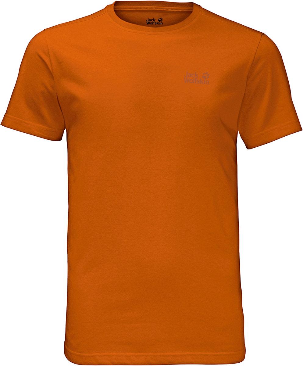 Футболка мужская Jack Wolfskin Essential T W, цвет: оранжевый. 1805781-3062. Размер XXL (54)1805781-3062Футболка мужская Essential T M изготовлена из полиэстера и органического хлопка. Ткань легкая и мягкая, быстро сохнет, приятная на ощупь и очень прочная. Модель имеет круглый вырез горловины и короткие стандартные рукава. Футболка дополнена логотипом бренда. В такой футболке вам будет комфортно весь день, она универсальна и подходит для повседневной жизни так же хорошо, как и для активного отдыха на природе.