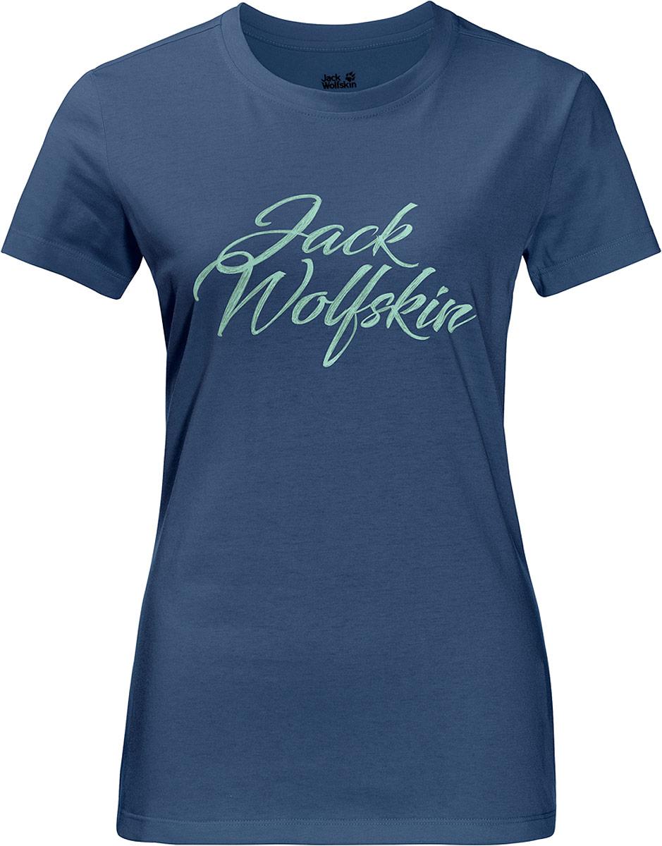 Купить Футболка женская Jack Wolfskin Brand T, цвет: синий. 1806061-1588. Размер XS (42)