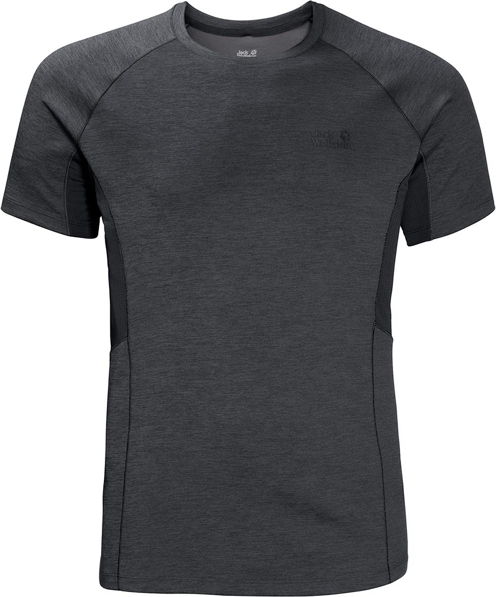 Футболка мужская Jack Wolfskin Hydropore Xt Vent, цвет: серый. 1806121-6116. Размер M (46)1806121-6116Вверх, вниз по склону или быстрый рывок по равнине, наша Hydropore Xt Vent обеспечивает непревзойденный комфорт, когда вы упорно тренируетесь и потеете. Эта функциональная эластичная футболка спортивного облегающего покрояоснащена дышащими сетчатыми вставками под рукавами. Ткань также эффективно отводит наружу влагу с кожи. Поэтому вы всегда будете чувствовать комфорт и сухость, вне зависимости от того, надеваете ли вы футболку отдельно или в составе многослойного комплекта одежды. Ткань HYDROPORE (ХАЙДРОПОР) может похвастаться дополнительными свойствами, которые поддержат ваши достижения во время занятий с интенсивной нагрузкой. Она очень прочная и обеспечивает надежную защиту от УФ-излучения в горах или летним солнечным днем. А технология S.FRESH (Эс. ФРЕШ) позволяет ткани блокировать неприятные запахи.