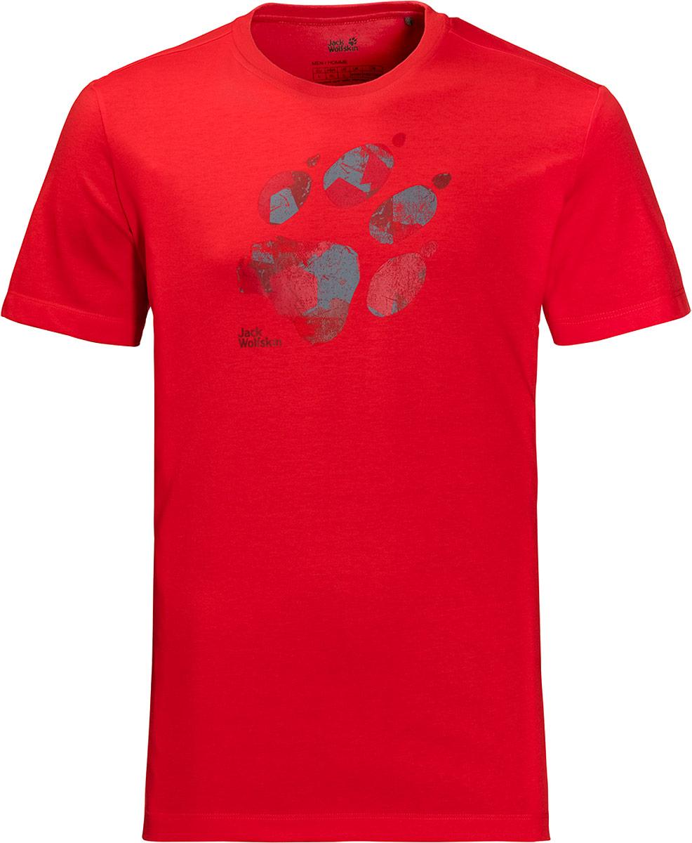 Футболка мужская Jack Wolfskin Marble Paw T, цвет: красный. 1806341-2015. Размер XXL (54)