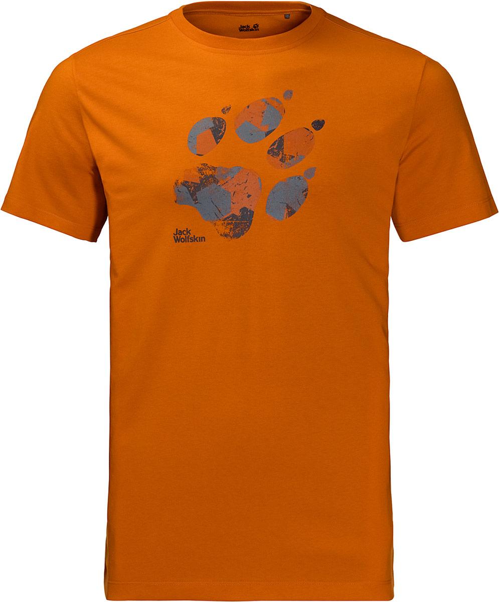 Футболка мужская Jack Wolfskin Marble Paw T, цвет: оранжевый. 1806341-3062. Размер S (42/44)1806341-3062Футболка Marble Paw T от Jack Wolfskin ощущается на коже как хлопок, при этом обладая функциональными свойствами полиэстера. Она быстро высыхает и обладает повышенной износостойкостью. А еще спереди она украшена принтом с изображением волчьей лапы!