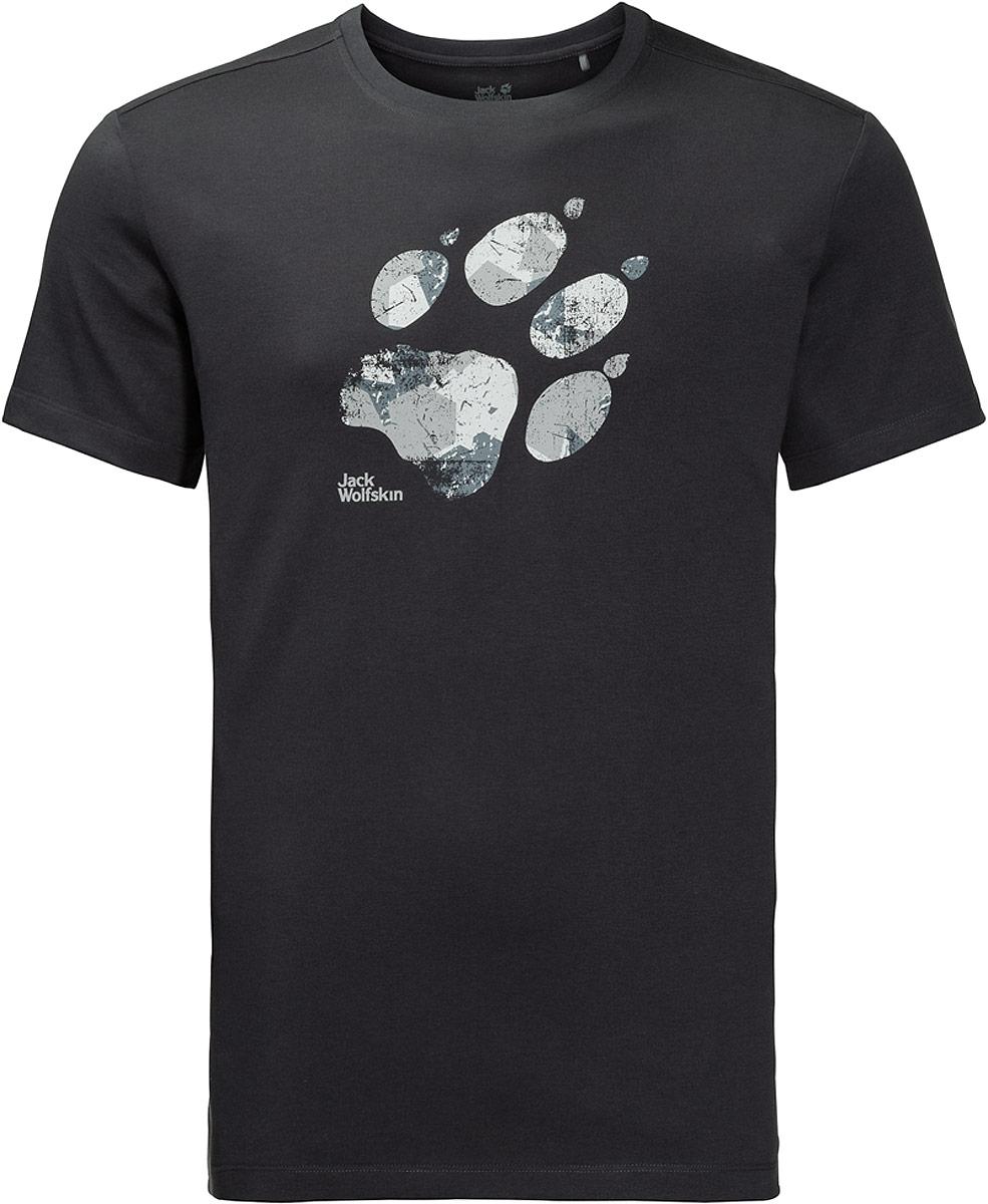 Футболка мужская Jack Wolfskin Marble Paw T, цвет: темно-серый. 1806341-6350. Размер XXXL (56) футболка мужская jack wolfskin rock chill logo t цвет черный 1806171 6000 размер xxxl 56